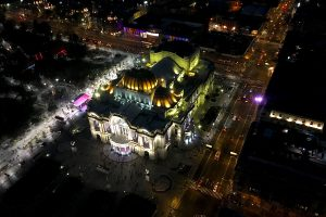 Bellas Artes (Palace of Fine Arts) at night from Torre Latino
